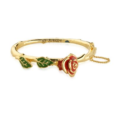 Ladies Disney Couture Gold Plated Beauty & the Beast Enchanted Red Rose Bangle DYB321