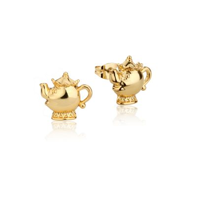 Ladies Disney Couture Gold Plated Beauty & the Beast Mrs Potts Teapot Stud DYE227