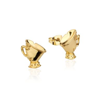 Ladies Disney Couture Gold Plated Beauty & the Beast Chip Tea Cup Stud DYE224