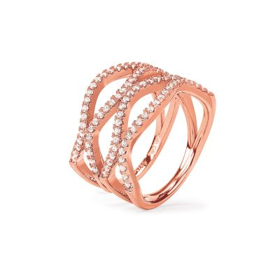 Ladies Folli Follie Rose Gold Plated Sterling Silver Essentials CZ Wave Crystal Ring Size N 5045.6682