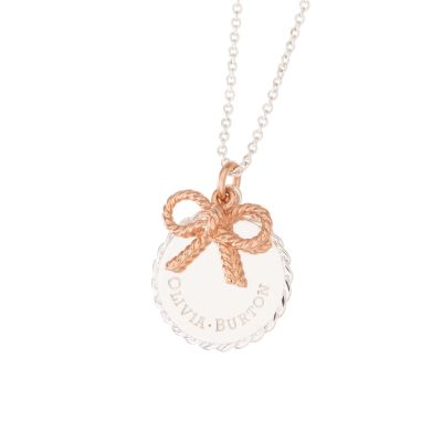 Vinatge Bow Coin & Bow Rose Gold & Silver Necklace OBJ16VBN05