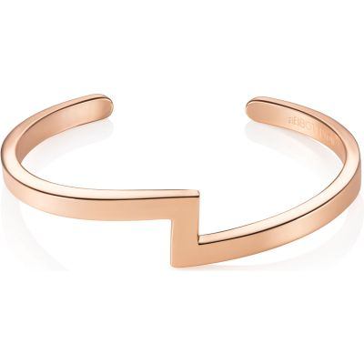 Ladies Abbott Lyon Rose Gold Plated Zig Zag Bangle AL3243