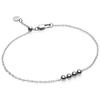 Ladies Abbott Lyon Silver Plated Four Balls Thin Chain Bracelet AL3399