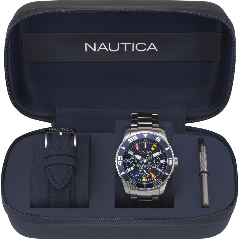 Mens Nautica White Cap Box Set Watch