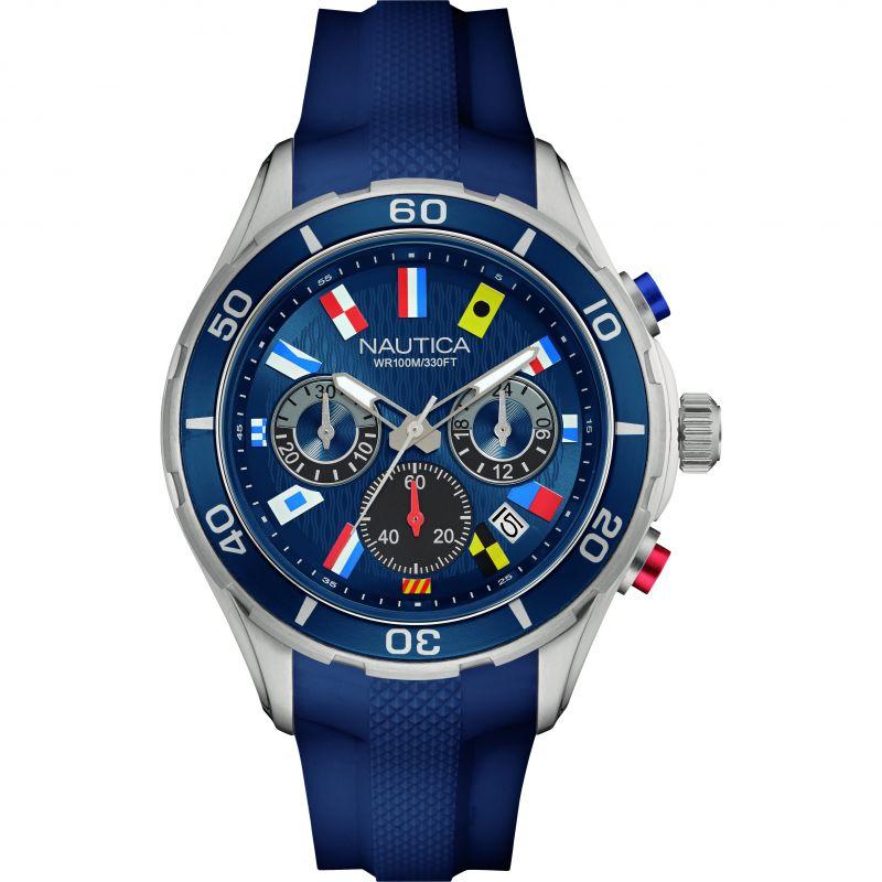 Mens Nautica NST12 Flag Chronograph Watch