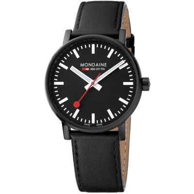 Mondaine Swiss Railways Evo2 40 Herrenuhr in Schwarz MSE40121LB