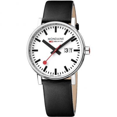 Mondaine Swiss Railways Evo2 40 Big Date Herrenuhr in Schwarz MSE40210LB