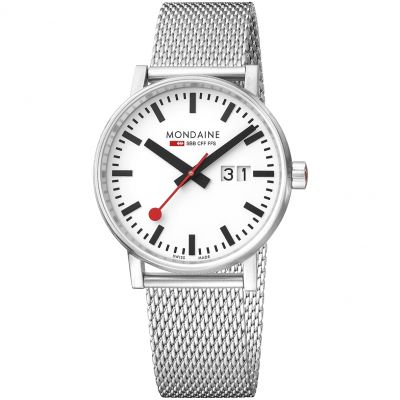 Mondaine Swiss Railways Evo2 40 Big Date Herrenuhr in Silber MSE40210SM