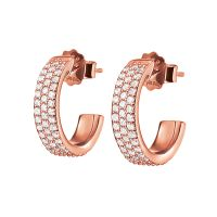 Ladies Folli Follie Rose Gold Plated Sterling Silver Essentials Sparkle Mini Hoop Earrings 5040.3097