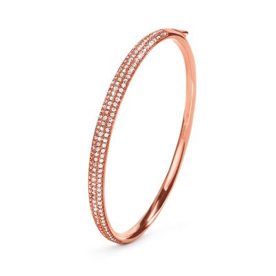 Ladies Folli Follie Rose Gold Plated Sterling Silver Essentials Solid Bangle 5010.3915