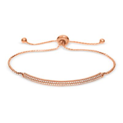 Ladies Folli Follie Rose Gold Plated Sterling Silver Essentials Mini Sparkle Toggle Bracelet 5010.3916