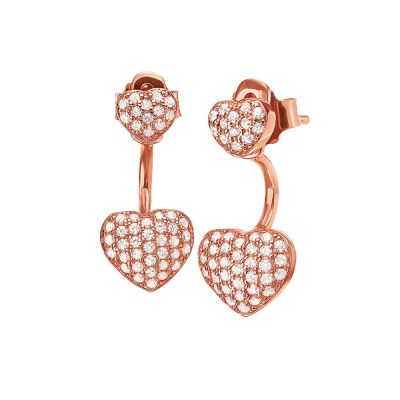 Ladies Folli Follie Rose Gold Plated Sterling Silver Stories Love Heart Cuff Earrings 5040.3096