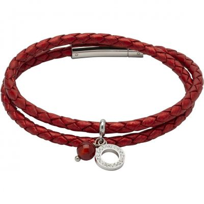Unique Dames Red Leather and Agate Charm Bracelet Roestvrijstaal B389MR/19CM