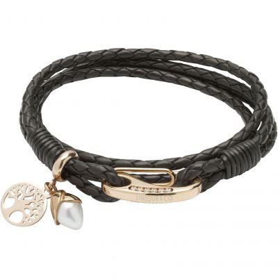 Unique & Co Dam Leather and Pearl Charm Bracelet Guldpläterad B398BL/19CM