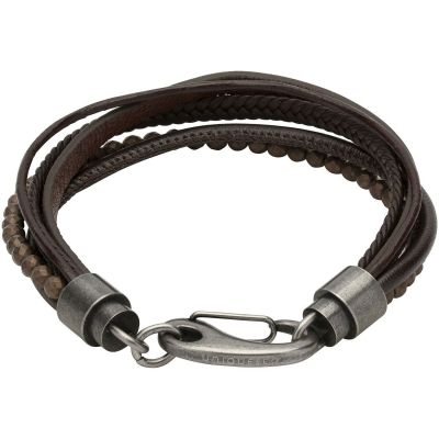 Mens Unique & Co Gunmetal PVD Leather and Haematite Bracelet B387DB/21CM