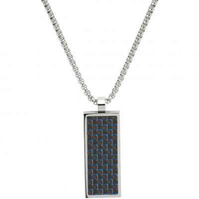 Gioielli da Uomo Unique Jewellery and Blue Carbon Fibre Necklace AN-73/50CM