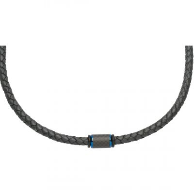 Mens Unique & Co Black Ion-plated Steel Leather and Carbon Fibre Necklace K376NV/50CM