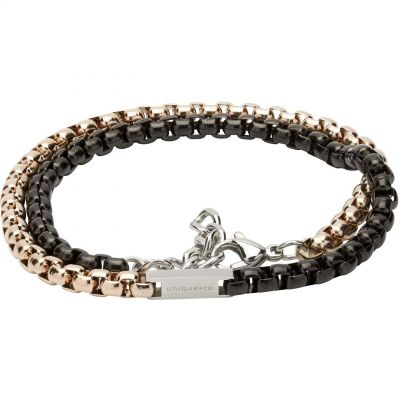 Mens Unique & Co Stainless Steel Black and Gold IP Double Wrap Bracelet LAB-125RO