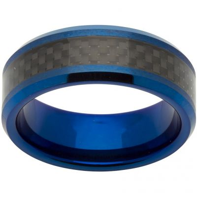 Unique Heren 8mm Tungsten Carbide and Carbon Fibre Ring Size V TUR-63-64