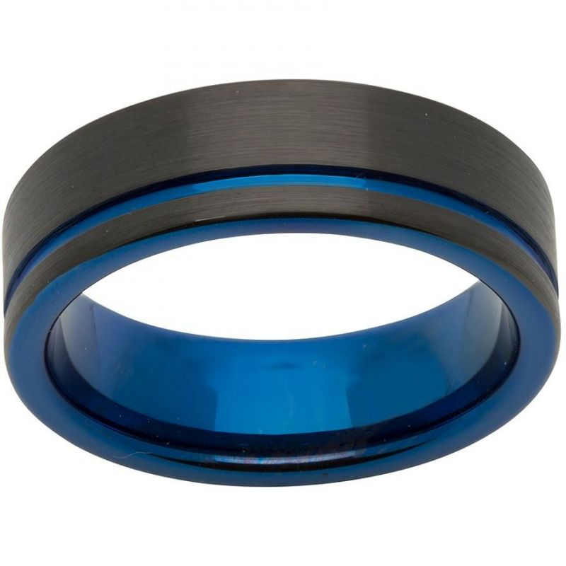 Unique Herr 7mm Tungsten Carbide with Blue and Black IP Size S TUR-58-60