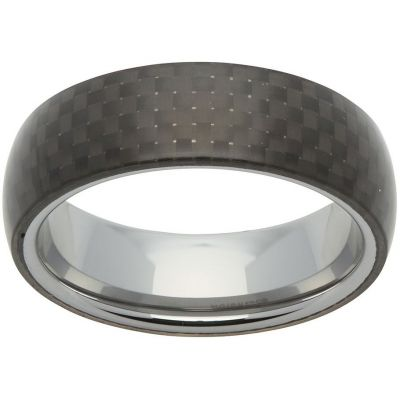 Unique Heren 7mm Tungsten Carbide and Carbon Fibre Ring Size V TUR-62-64