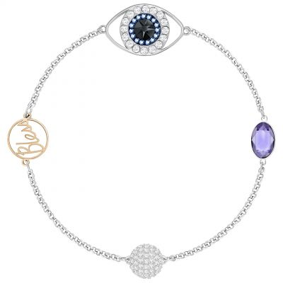 Ladies Swarovski Rhodium Plated Remix Eye Symbol Bracelet 5365749