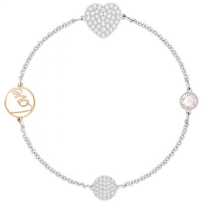 Ladies Swarovski Two-Tone Steel and Rose Plate Remix Heart Bracelet 5365760