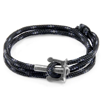Unisex Anchor & Crew Black Union Armband Sterling-Silber AC.SI.UN15