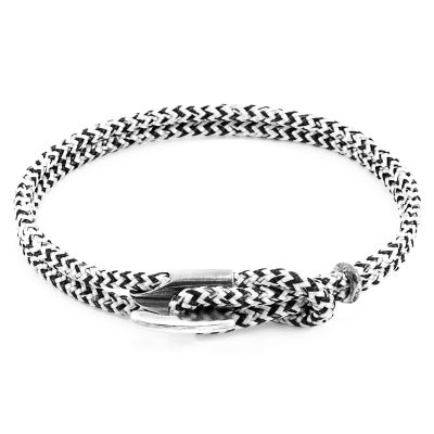 Unisex Anchor & Crew White Noir Padstow Armband Sterling-Silber AC.DO.PA10