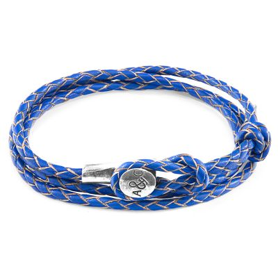 Unisex Anchor & Crew Blue Leather Dundee Armband Sterling-Silber AC.DO.DUN