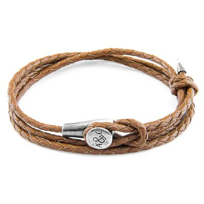 Unisex Anchor & Crew Light Brown Leather Dundee Armband Sterling-Silber AC.DO.DUO