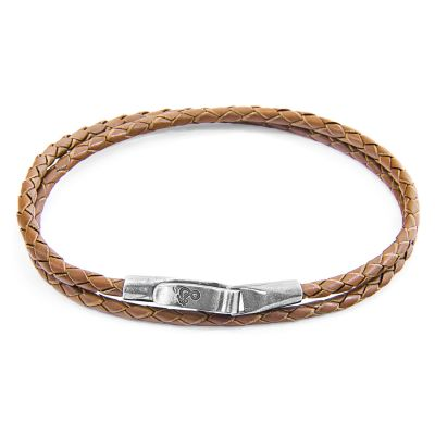 Anchor & Crew Sterling Silver Light Brown Leather Liverpool Bracelet AC.DO.LIO