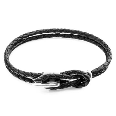 Anchor & Crew Unisex Black Leather Padstow Bracelet Sterling Zilver AC.DO.PAL