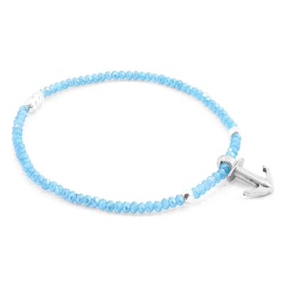 Ladies Anchor & Crew Sterling Silver Light Blue Jade Tropic Bracelet AC.HA.TR24