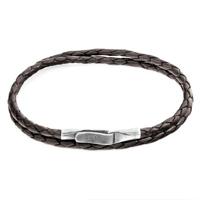 Unisex Anchor & Crew Brown Leather Liverpool Armband Sterling-Silber AC.DO.LIM