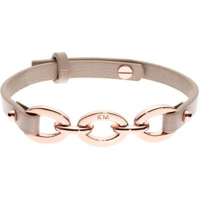 Karen Millen Chain Link Leather Bracelet KMJ1162-24-225