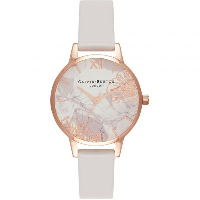 Olivia Burton Abstract Florals Abstract Florals Gold & Blush Damenuhr in Grauweiß OB16VM12