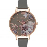 Ladies Olivia Burton Marble Florals Dark Grey & Rose Gold Watch OB16CS08