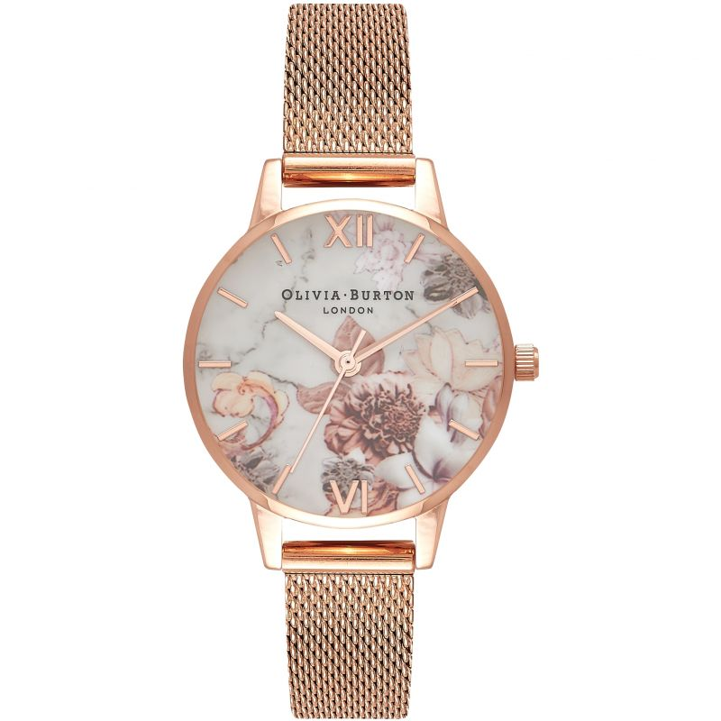 Marble Florals Rose Gold Mesh Watch