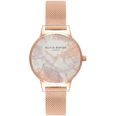 Olivia Burton Abstract Florals Rose Gold Mesh Dameshorloge Rose OB16VM11
