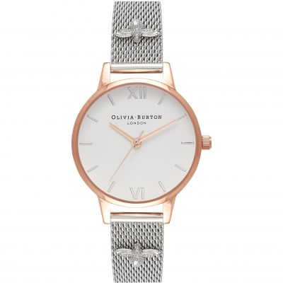 Embellished Strap 3D Bee Rose Gold  & Silver Watch