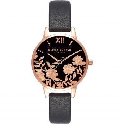 Montre Femme Olivia Burton Lace Detail Rose Gold & Black OB16MV75