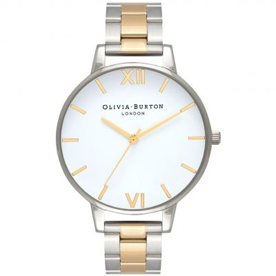 White Dial Silver & Gold Mesh Bracelet Watch