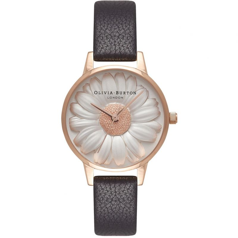 3D Daisy Silver Rose Gold & Black Watch