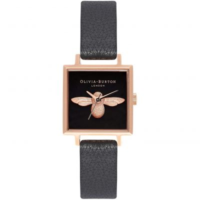 Zegarek damski Olivia Burton Square Dial 3D Bee Black & Rose Gold OB16AM128