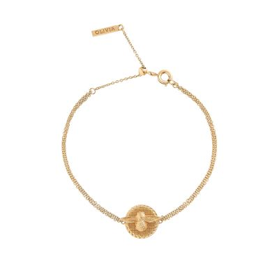 Ladies Olivia Burton Gold Plated 3D Bee Disc Chain Bracelet OBJ16AMB22
