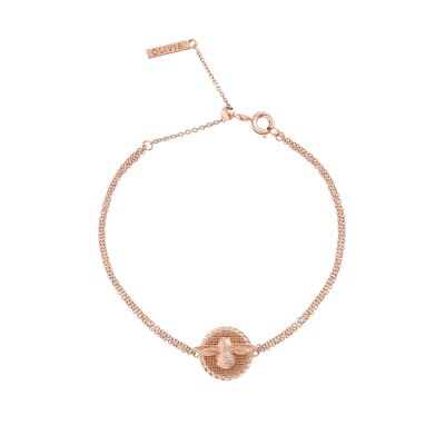 Ladies Olivia Burton Rose Gold Plated 3D Bee Disc Chain Bracelet OBJ16AMB23