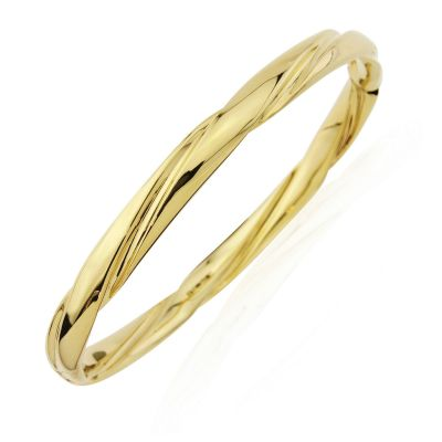 Jewellery 9ct Gold Twisted Tube Bangle