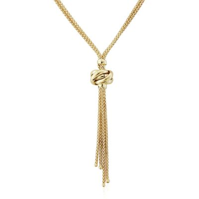 Jewellery Lariat style Necklet 18 inches/45cm 9 Karat Gold