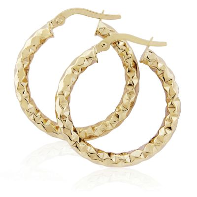 Jewellery Hammered Hoop Ohrringe 9 Karat Gold